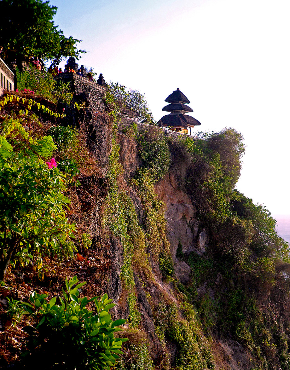 View of the main shrine from the cliff edge trail.