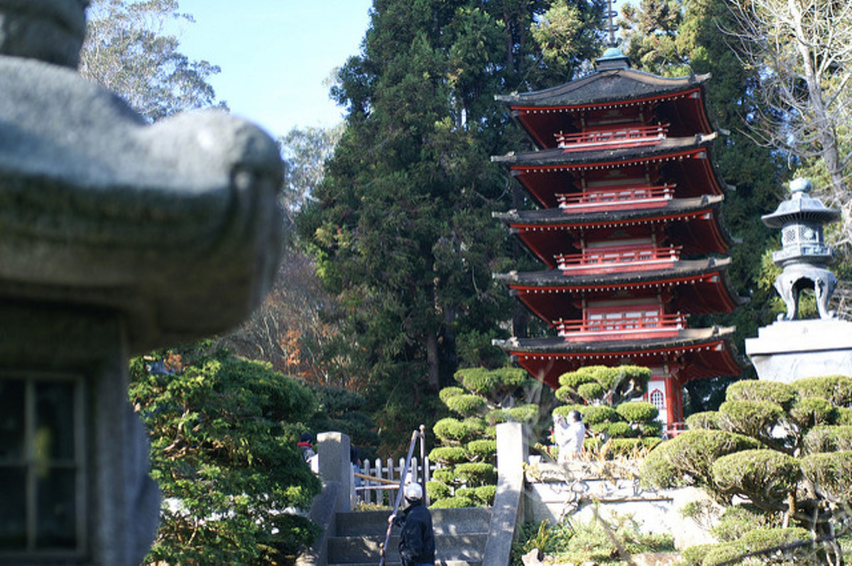 This beautiful central pagoda is visible from many areas within the garden.