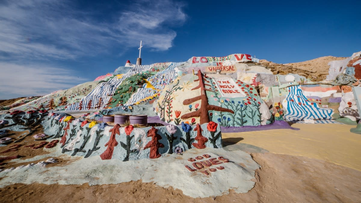 Salvation Mountain. This dominating structure is a fantastic painted, adobe, and mixed media three story work of art in Slab City.