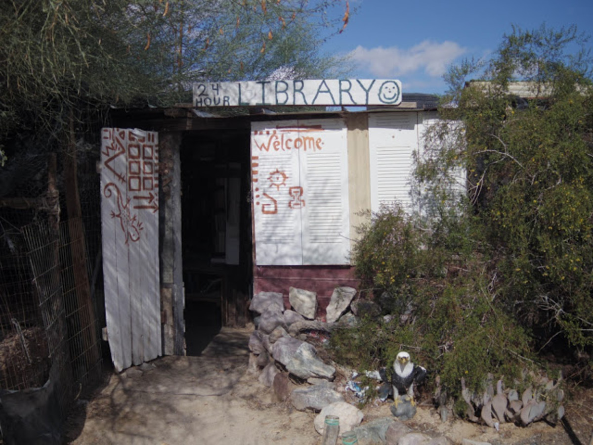 Entrance to the Slab City Library