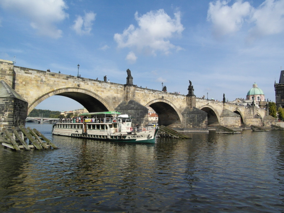 View of Charles Bridge from the water.