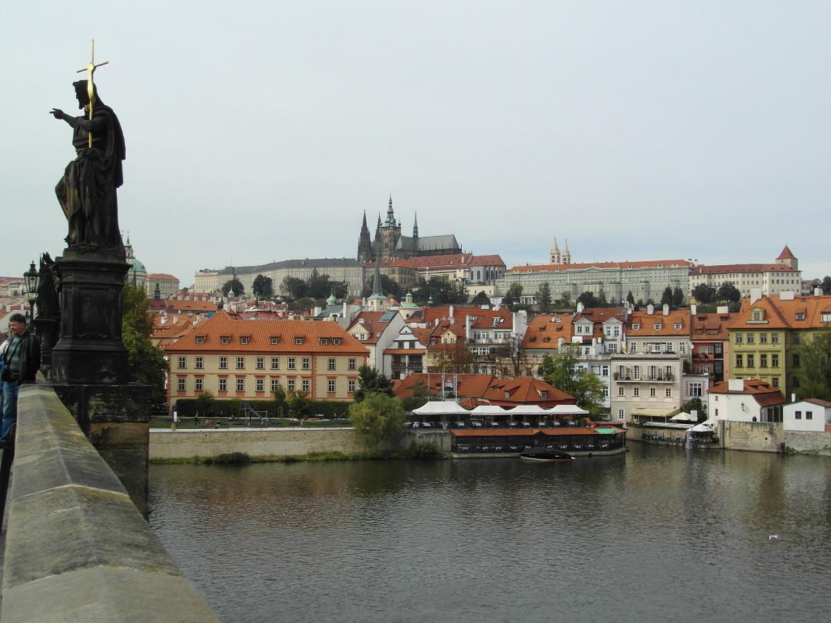 Prague Castle on its mound overlooking River Vltava.