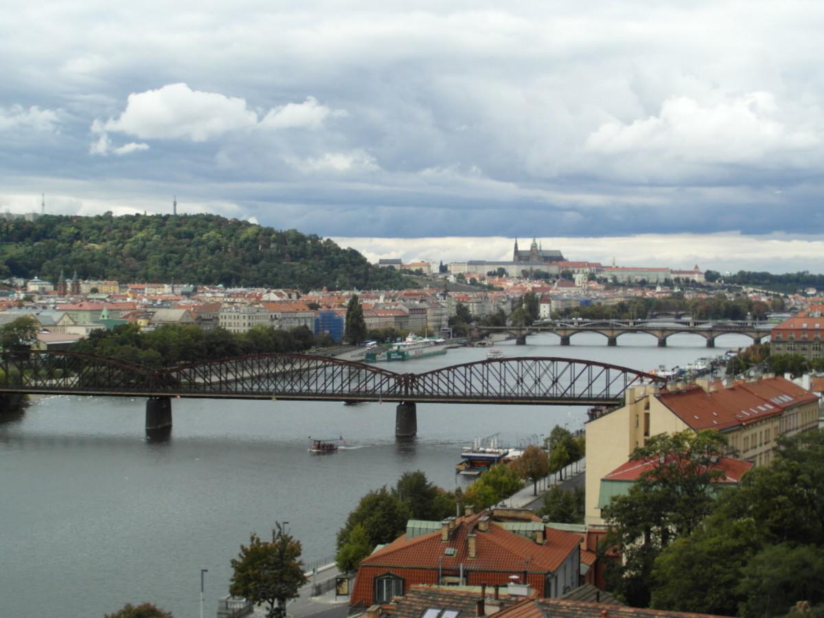 The view from Vysehrad, Prague towards Mala Strana and Prague Castle and Hradcany.