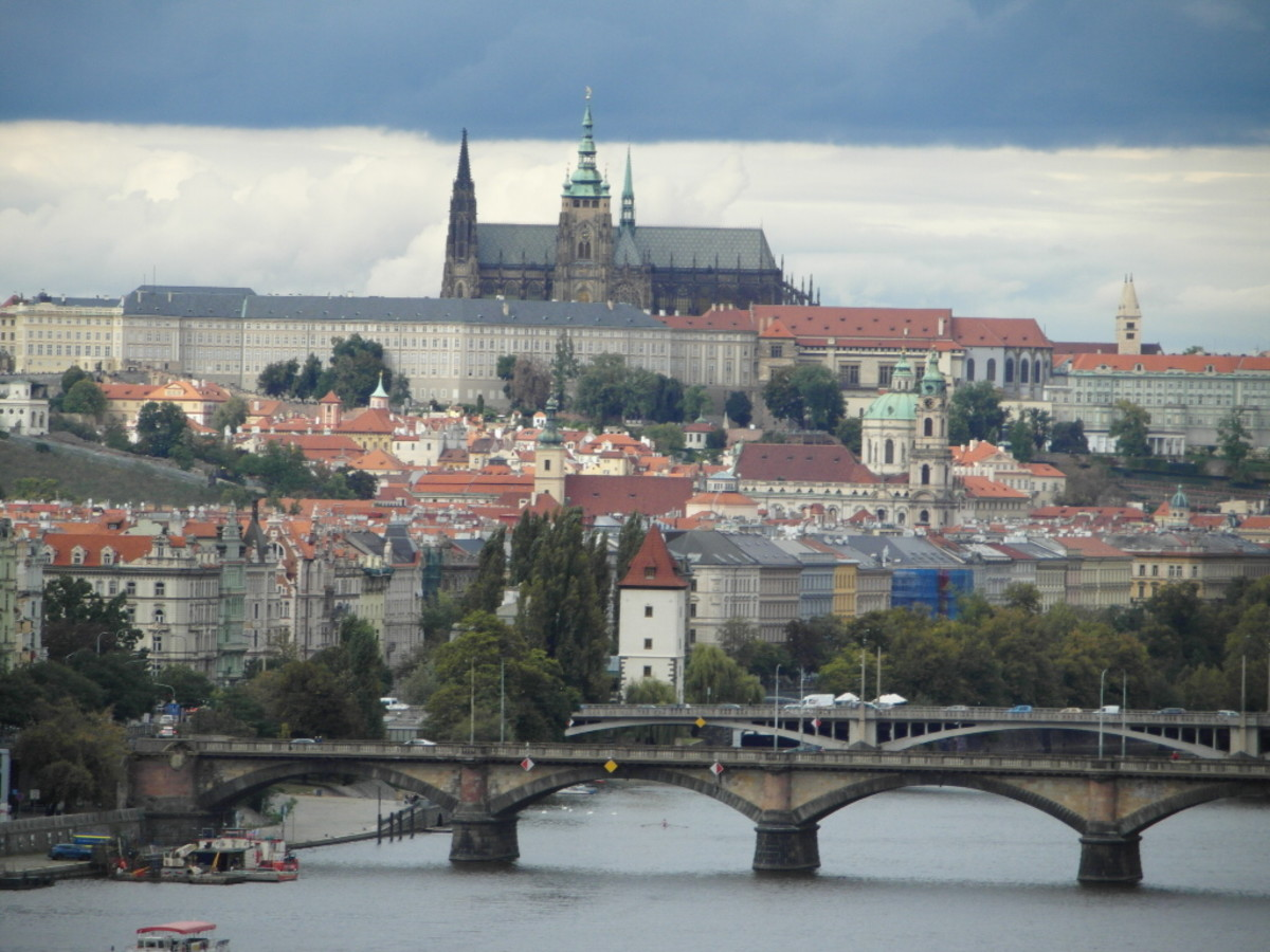 St. Vitus's Cathedral looking down on the River Vltava.