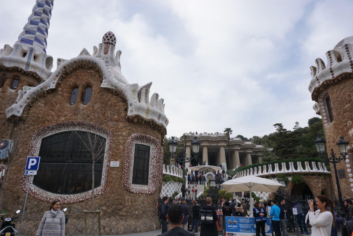 The entrance of Park Guell. The house looks like the candy house from Hansel and Gretel.