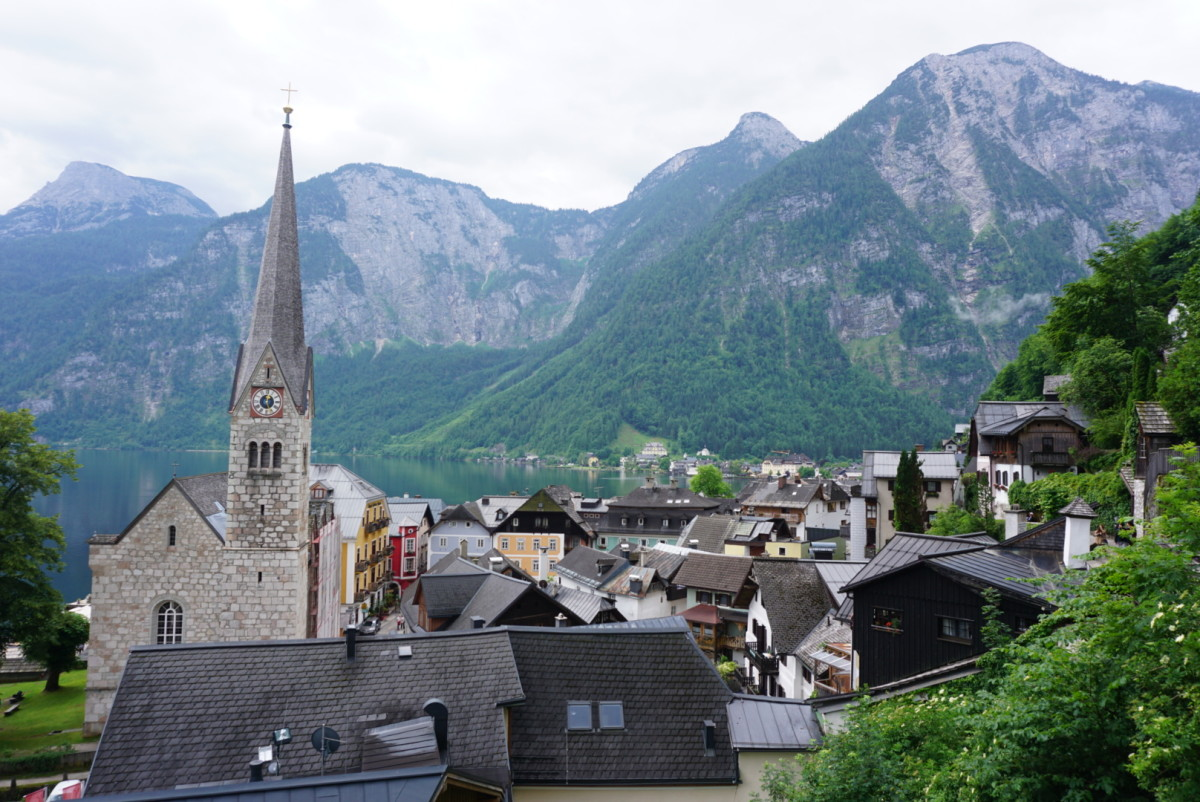 A postcard view of Hallstatt village.