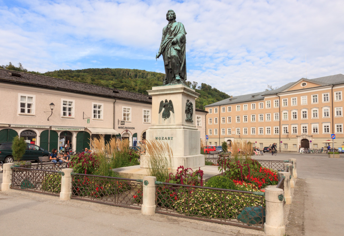 The Mozart monument located in Mozartplatz.