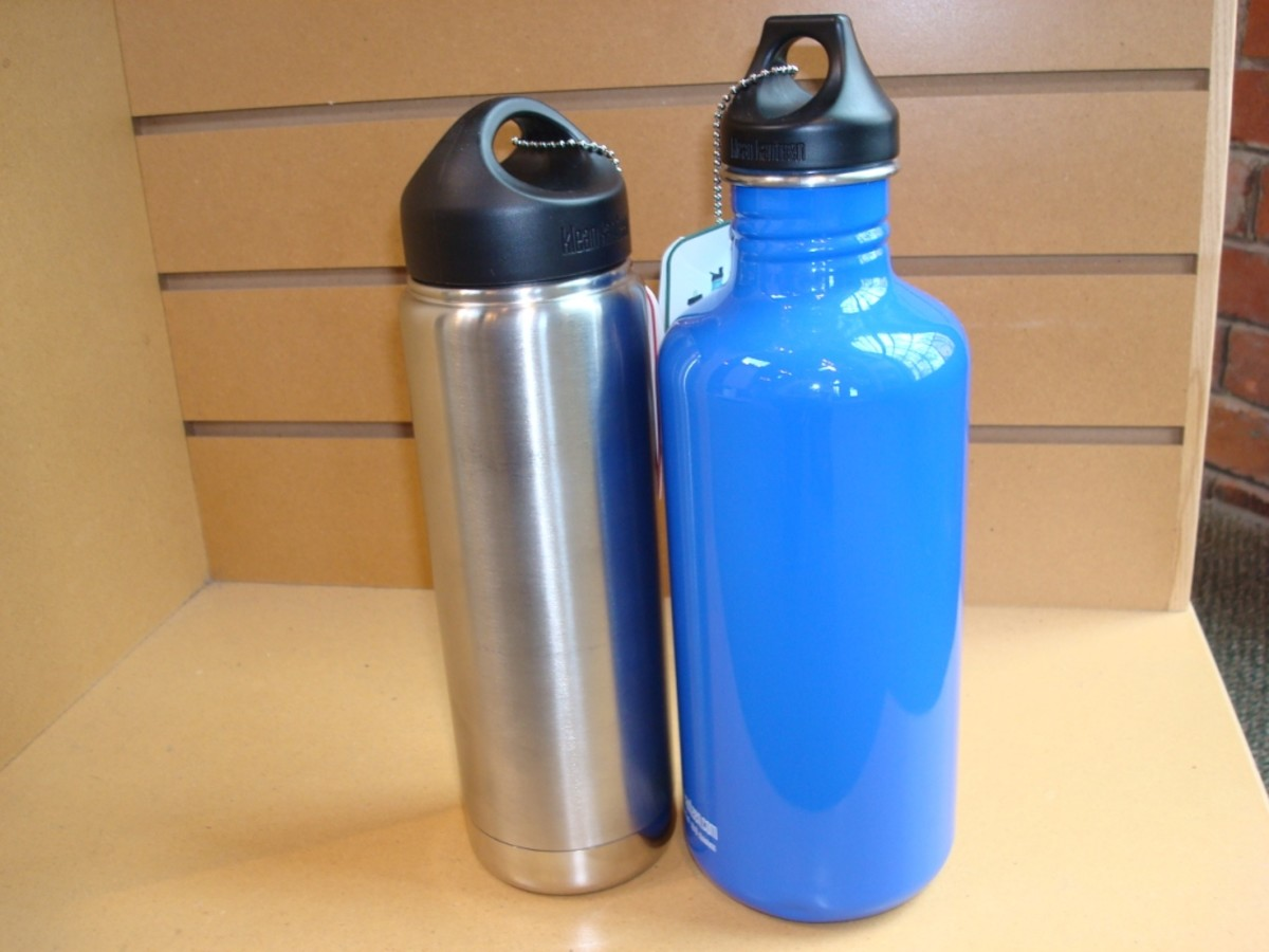 Our small day excursion bottle (left) and larger cabin bottle (right).