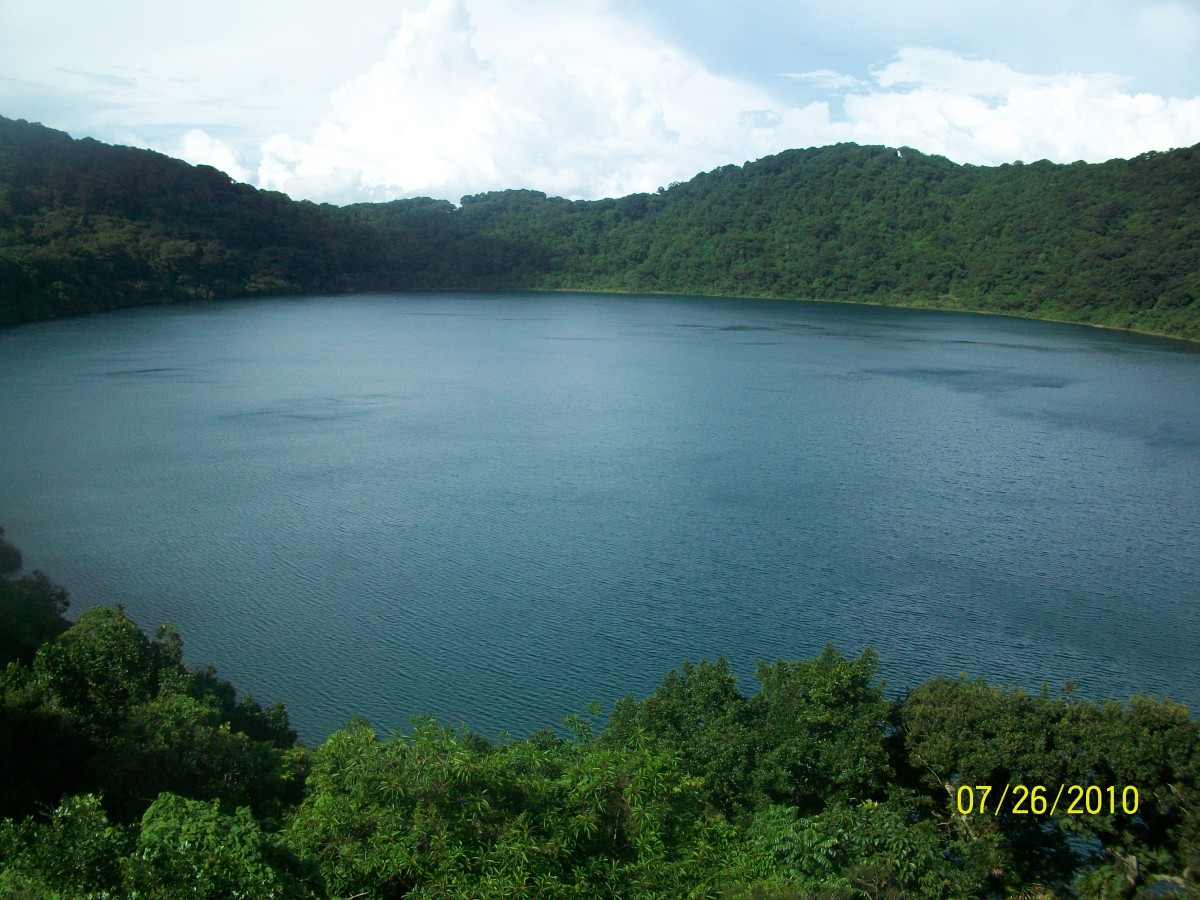 Taken at the peak of the volcano where you can see the gorgeous lake in its entirety.