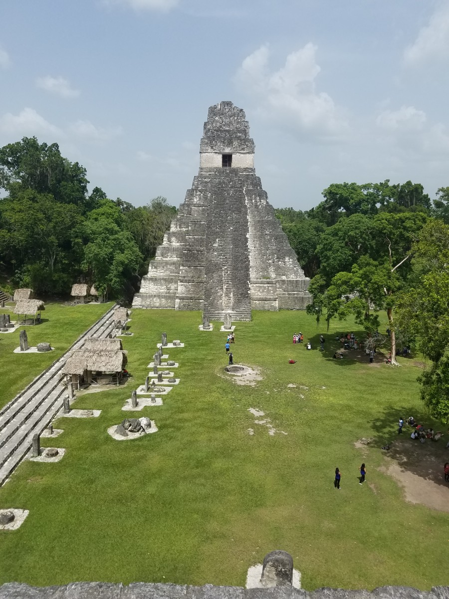 One of the most famous temples in Tikal taken while I was standing on another temple on the opposite side.
