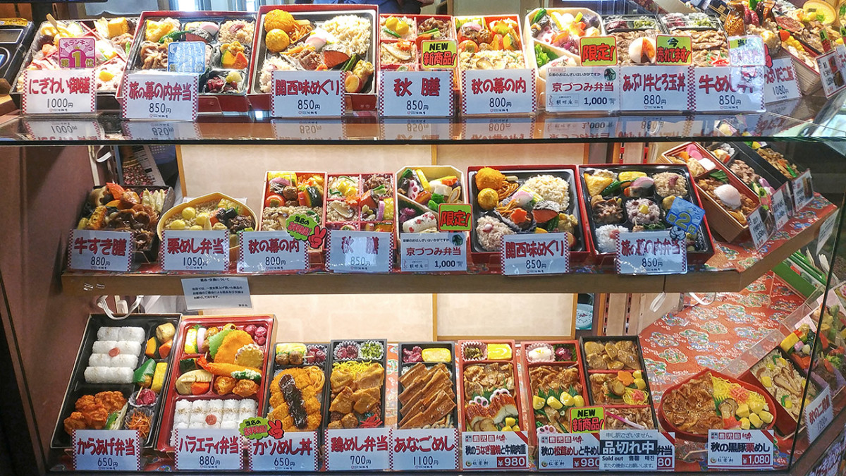Ekiben on sale at Kyoto Station. Deciding which to go for is always a difficult Japanese experience for me!
