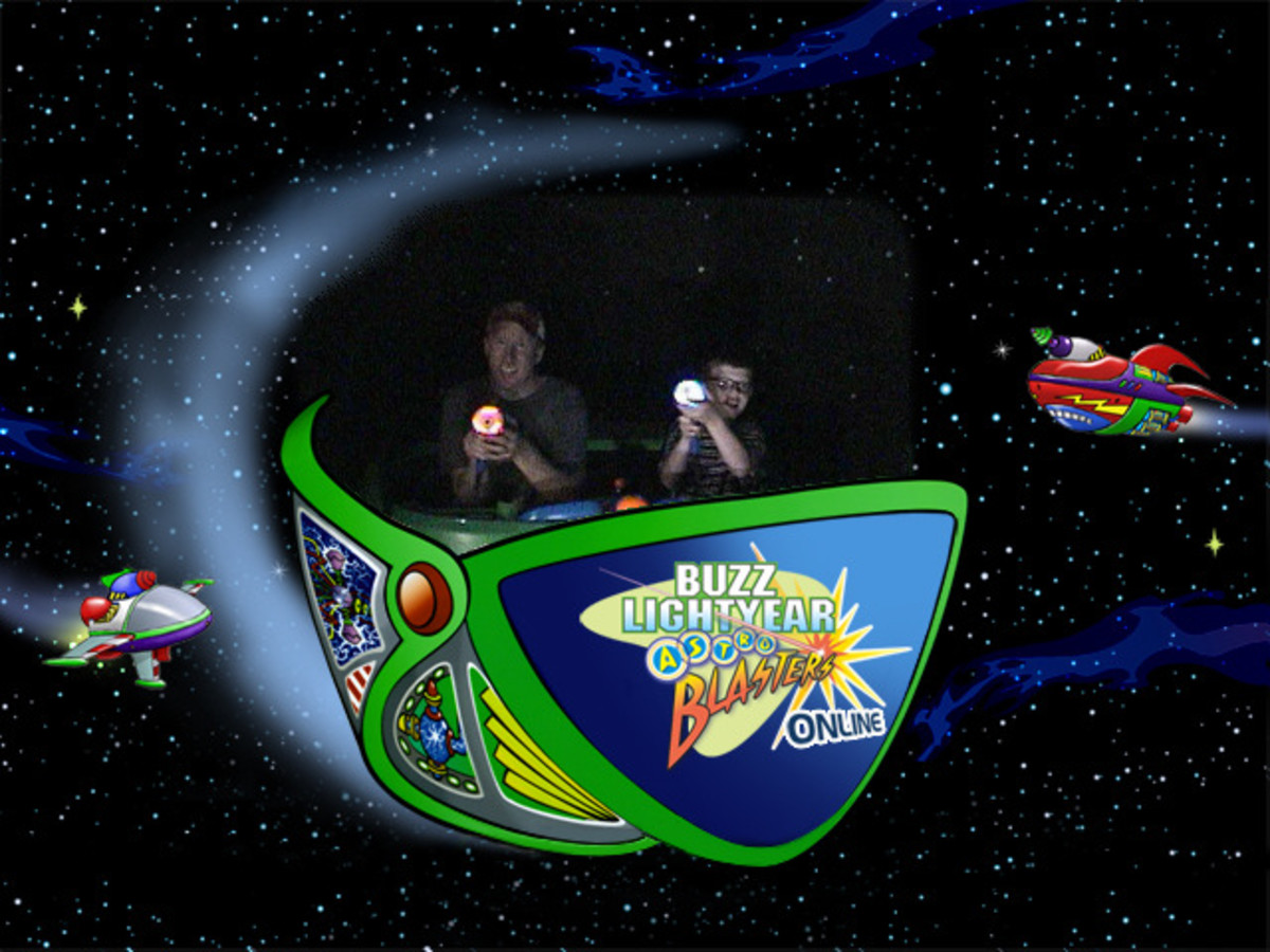 Disneyland's Buzz Lightyear ride allows riders to detach the laser guns, which makes firing at targets easier and obtaining a higher score possible.
