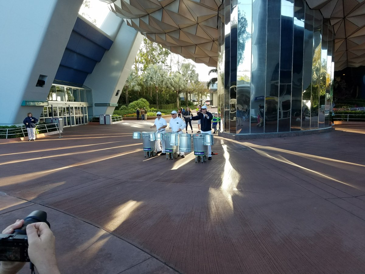 "The ""Jamitors"" outside Epcot"