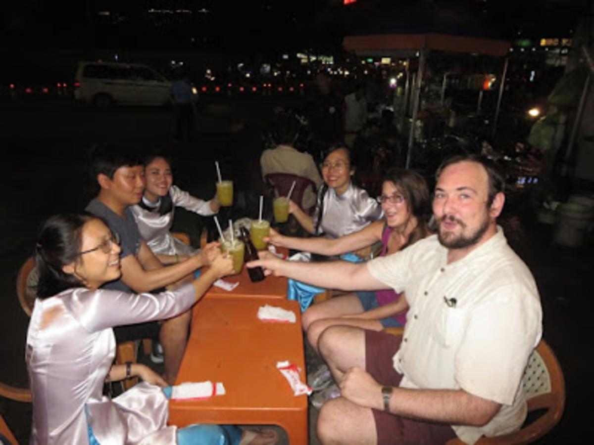 Stopping for drinks on XO Tours 'Saigon by Night' tour.