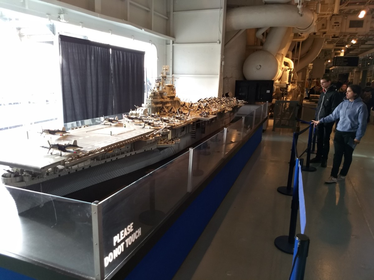 Make sure you check out the 22-foot model of the USS Intrepid near the information desk on the hangar deck. It's made of about 250,000 Lego pieces and weighs 550 pounds!