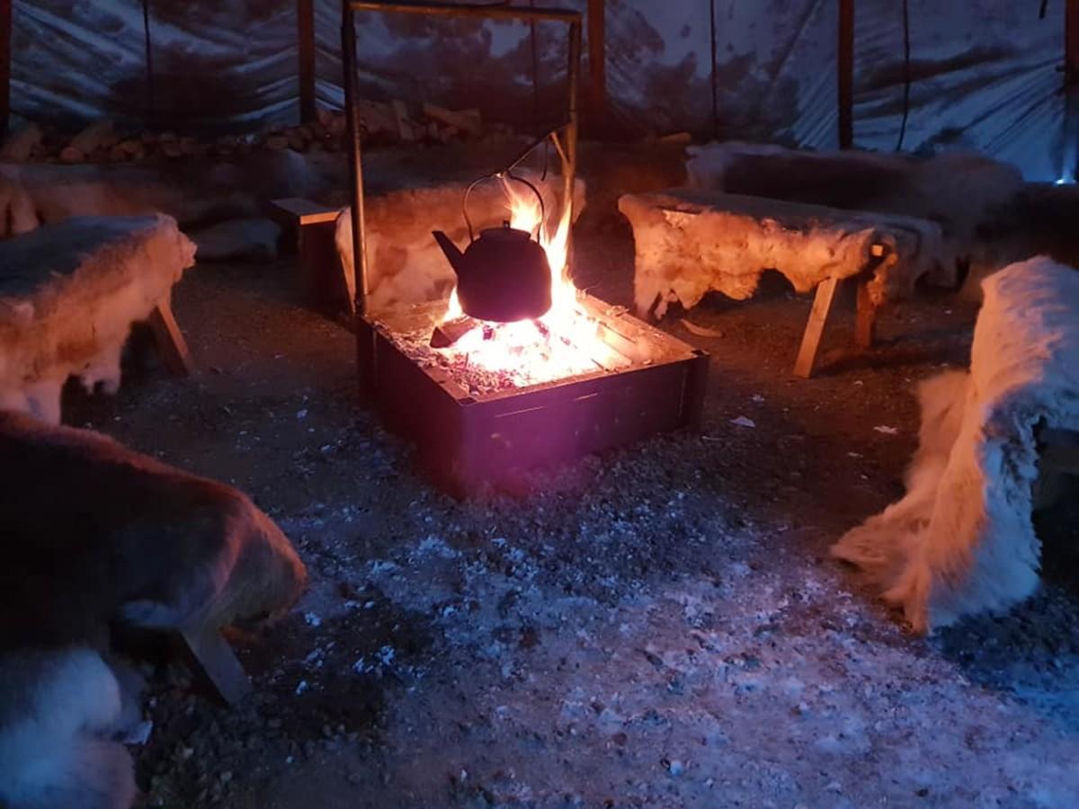 A warming fire awaits.