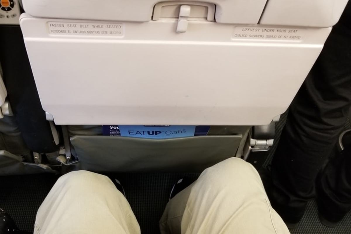 "My husband was very happy with the exceptional leg room, even in the economy seating. At 6'2"" tall, he had extra space from the end of his knees to the back of the next seat."