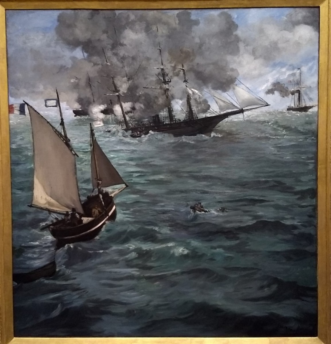 """The Battle of the Kearsarge and the Alabama"" by Edouard Manet"