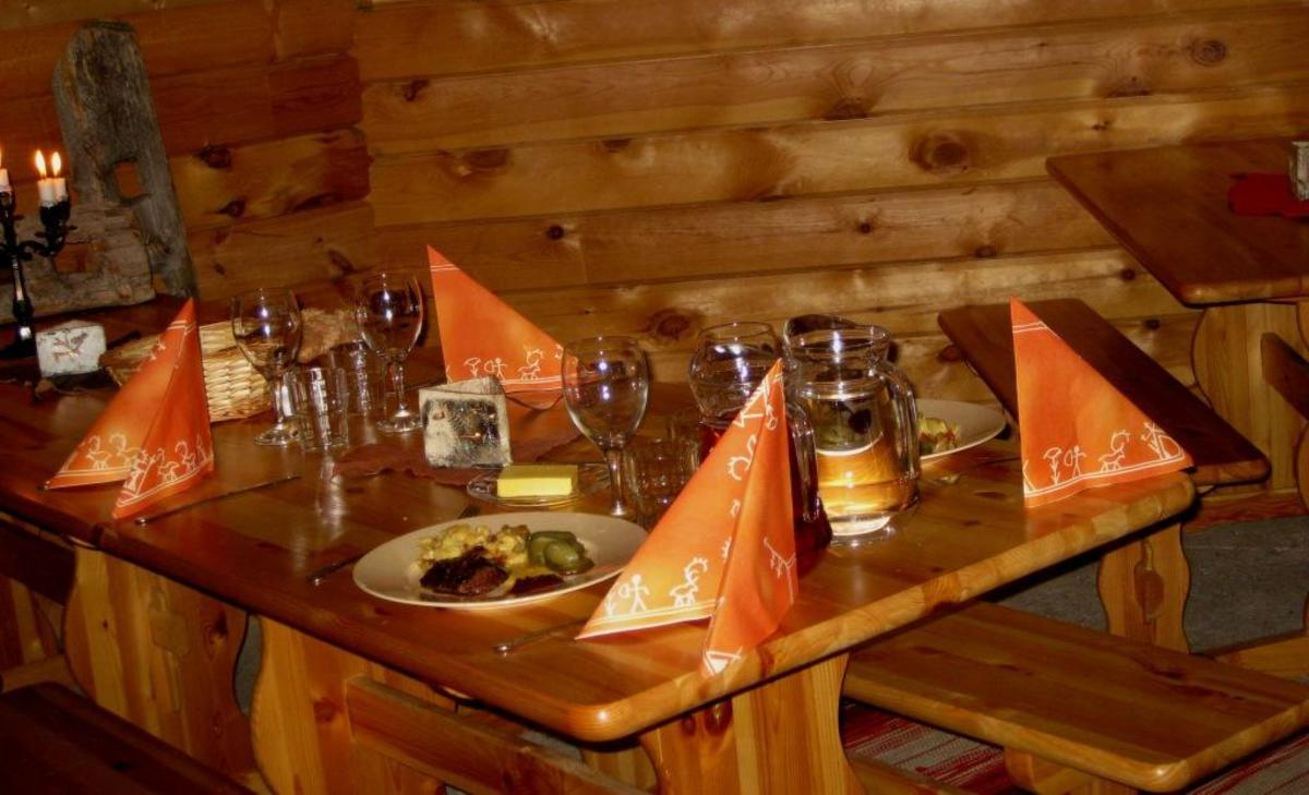 The kota-building provides a cosy spot for some Finnish cuisine and a place by a warm fire.