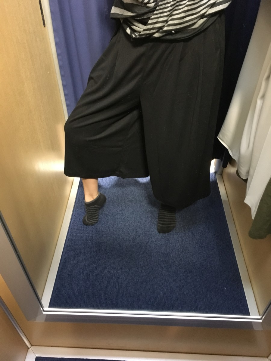 These pants are so wide they appear as a skirt at first glance