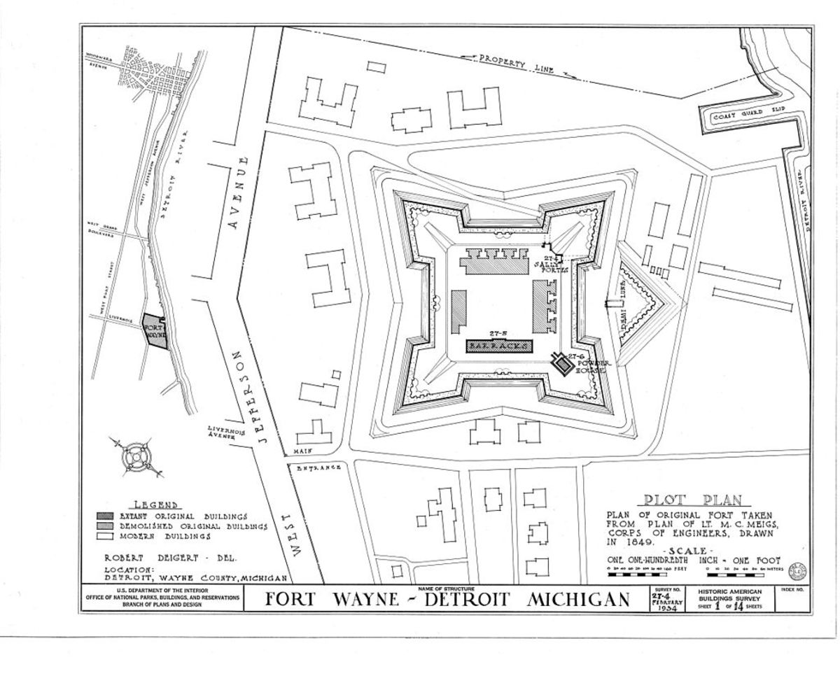 A 1934 survey drawing of Fort Wayne.