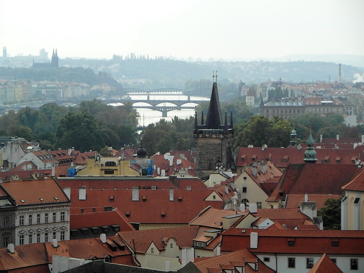 The view from Prague castle to Vysehrad top left.