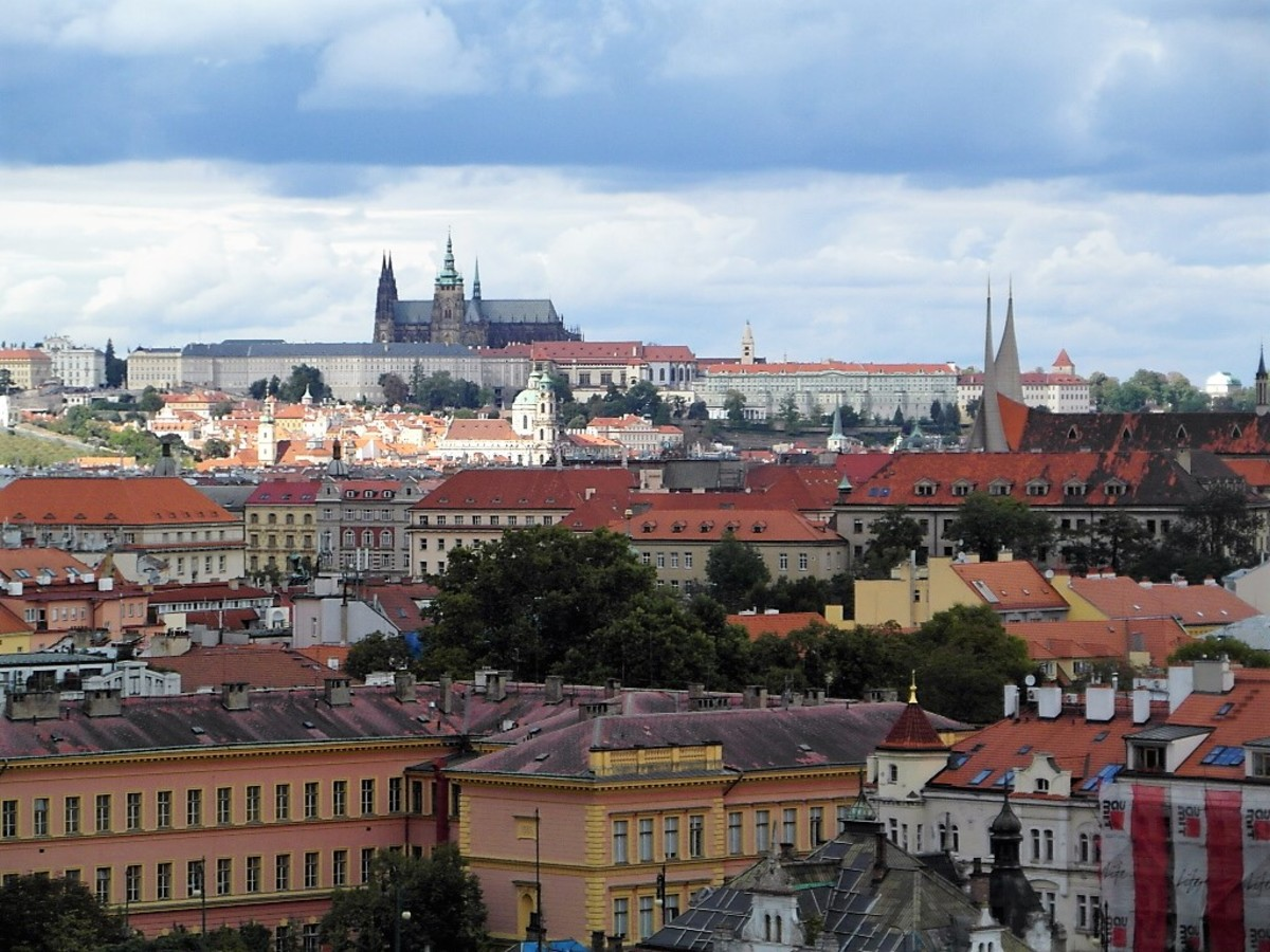 View from Vysehrad towards Prague Castle.