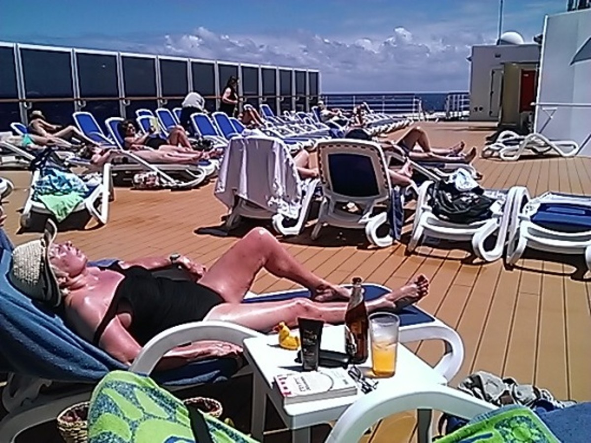 There are sun decks all over the ship at various levels. You will soon pick a favourite spot and go early enough to claim a sunbed.
