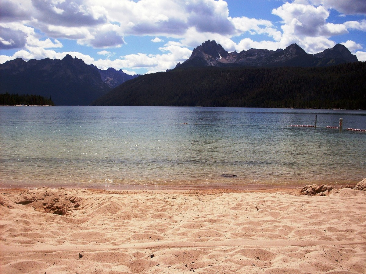 Sandy beach at Redfish Lake in the Sawtooth National Forest