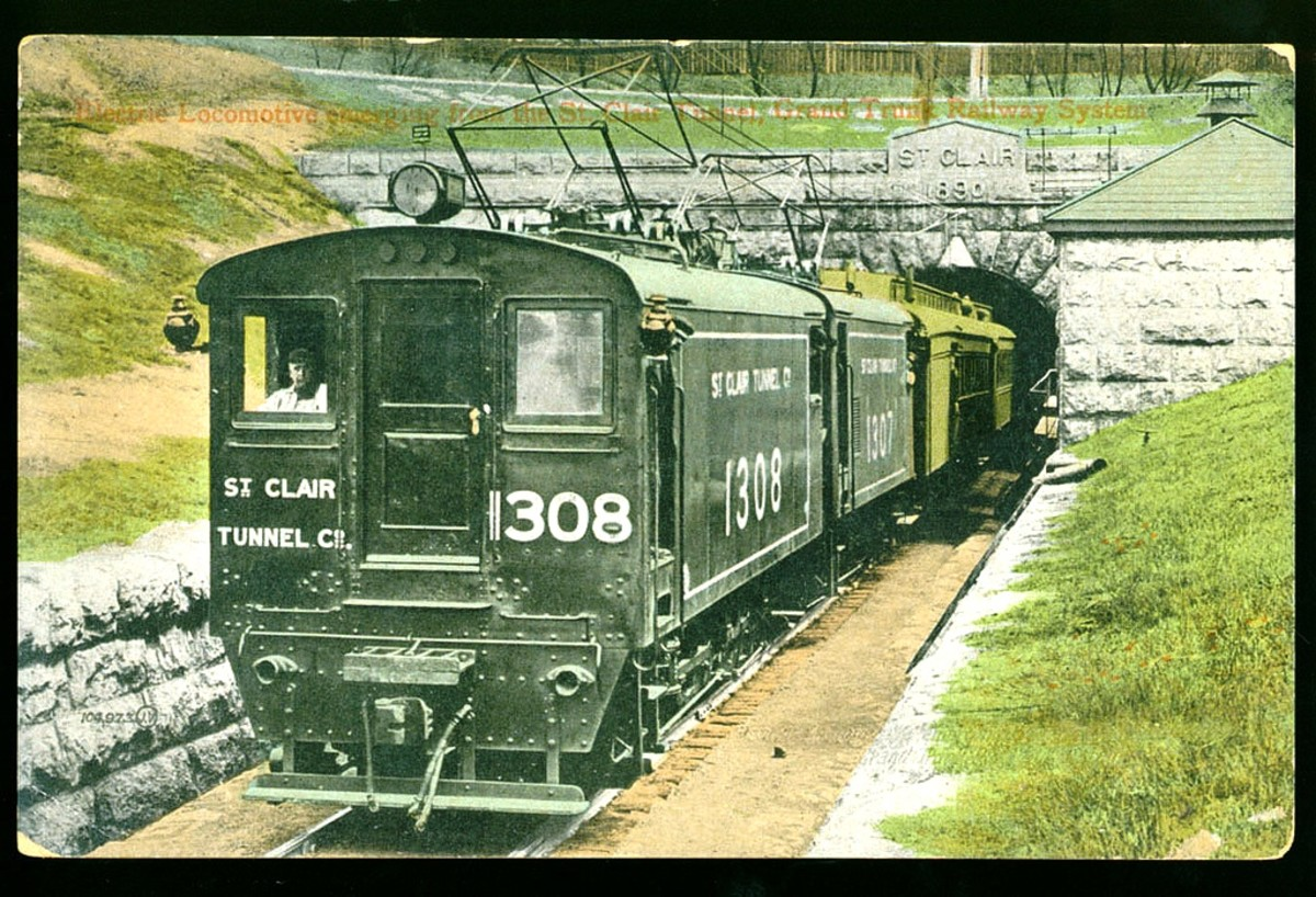 Electric train in St. Clair Tunnel at Port Huron, Michigan