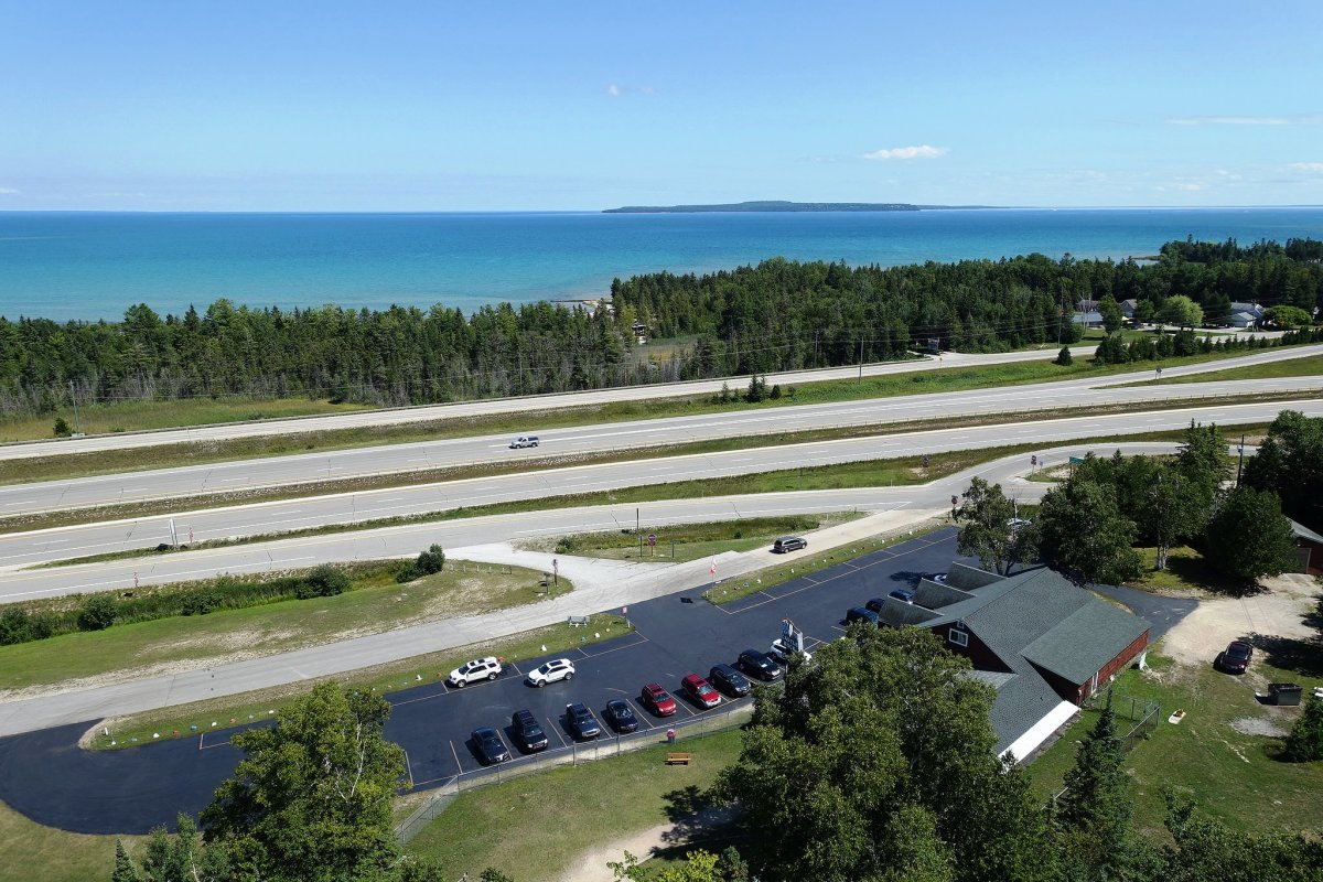 View from Castle Rock in St. Ignace, Michigan