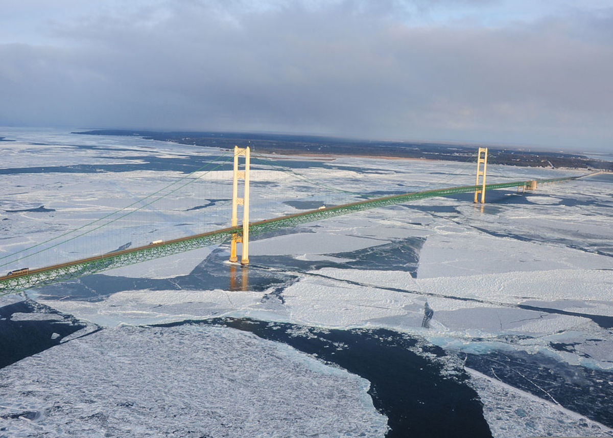 Ice forming on the Straits of Mackinac under the Mackinac Bridge as viewed from the St. Ignace, Michigan side.