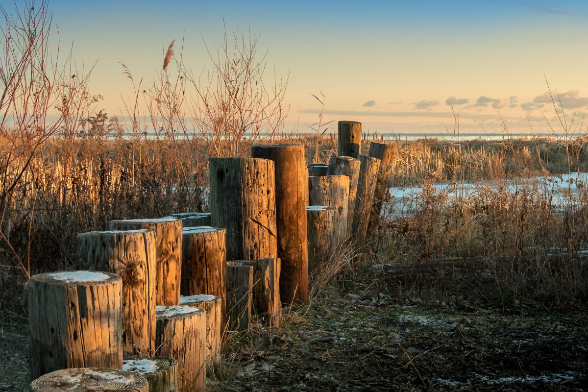 Sunrise over a frozen marsh along Lake Huron at Bay City State Park - Bay City, Michigan