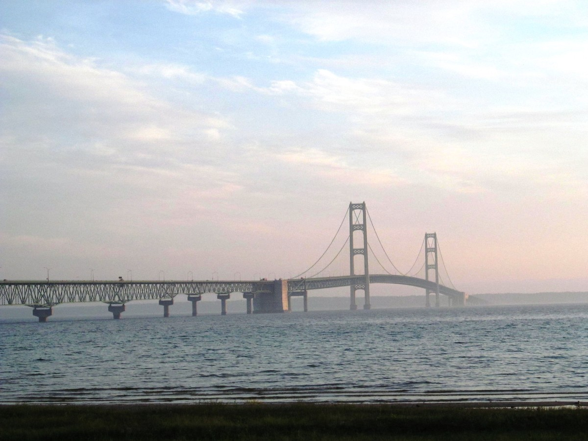 Mackinac Bridge in the haze - Mackinaw City, Michigan