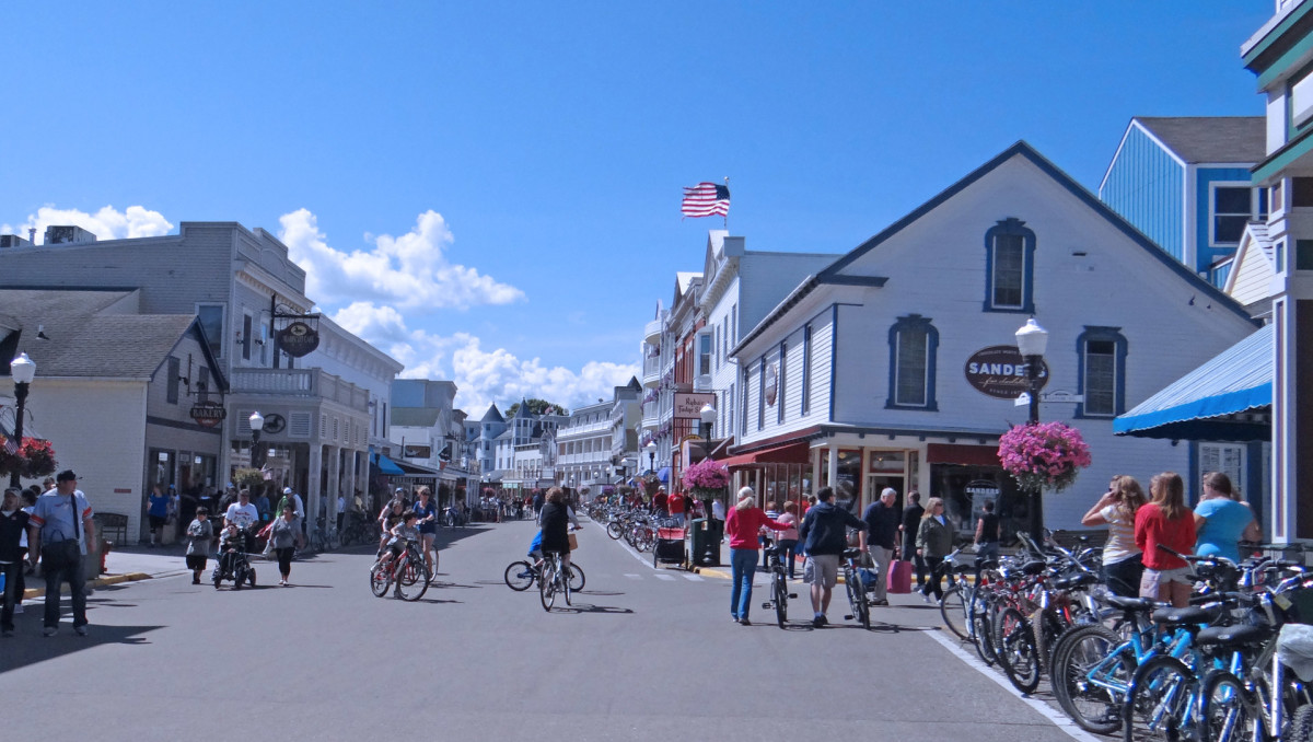 Visitors at Mackinac Island, Michigan