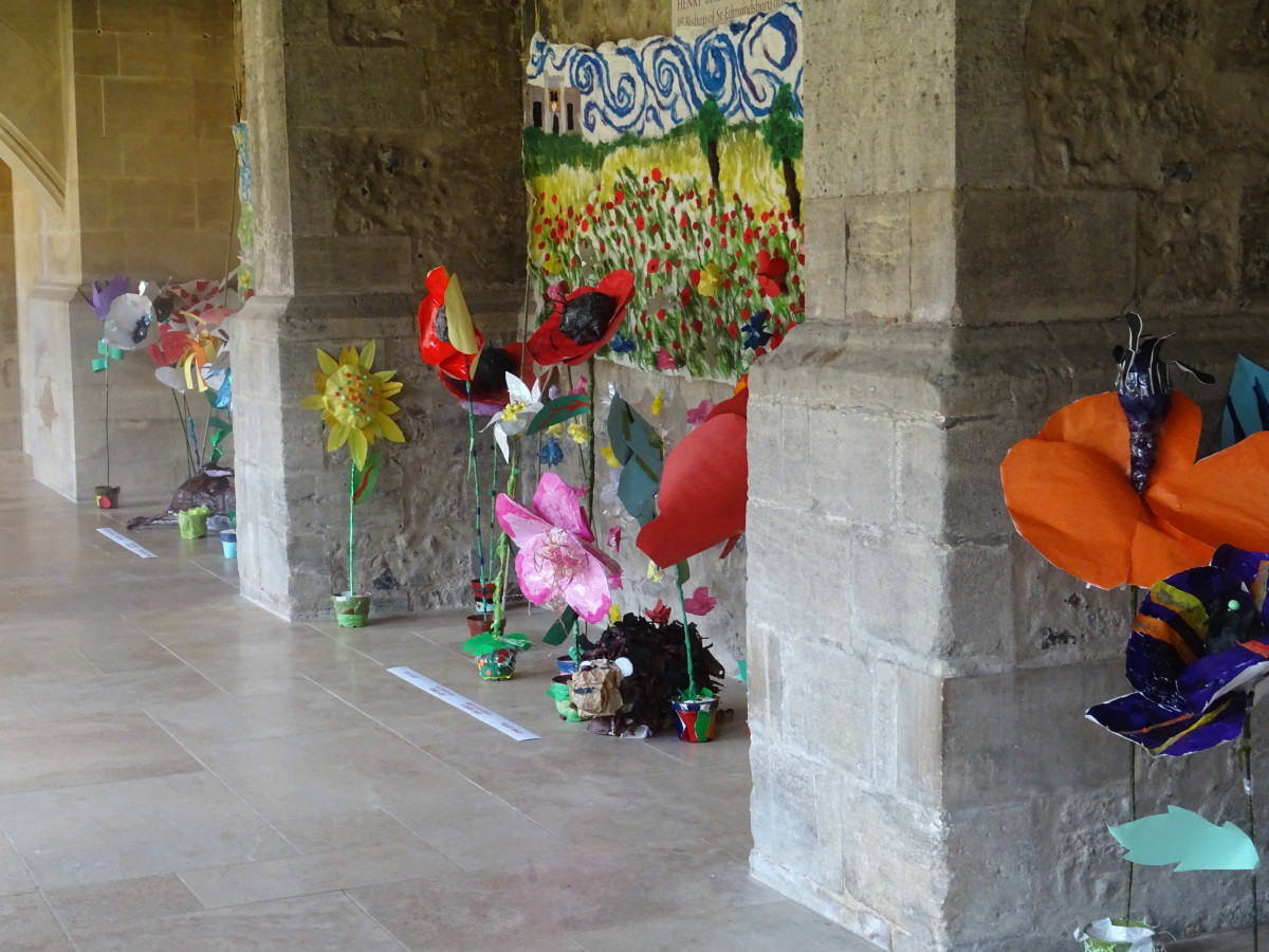 The cloisters at St. Edmundsbury Cathedral. Artwork by local school children.