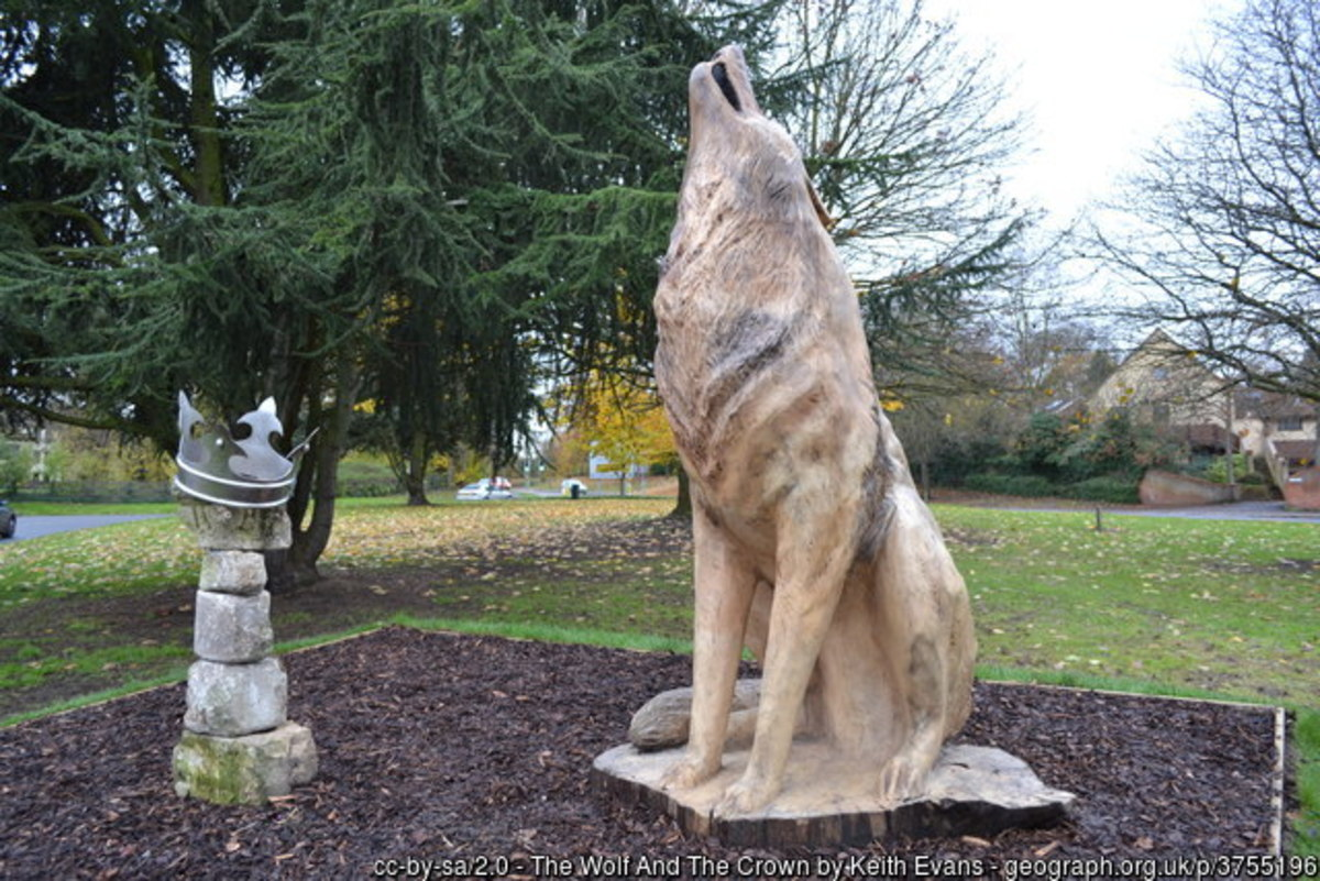 The Wolf and the Crown Statue in Bury St Edmunds. The crown sitting on top of the stones represents the severed head of King Edmund