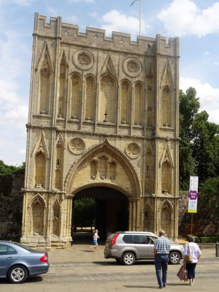 Norman Gate and Tower at Bury St Edmunds Abbey Gardens