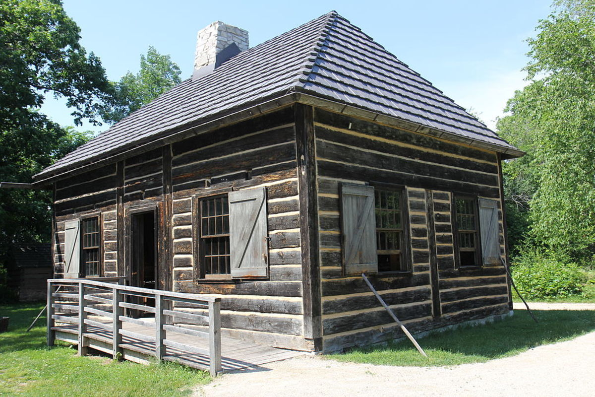 Fur Trade Cabin at Heritage Hill State Historical Park in Green Bay, Wisconsin