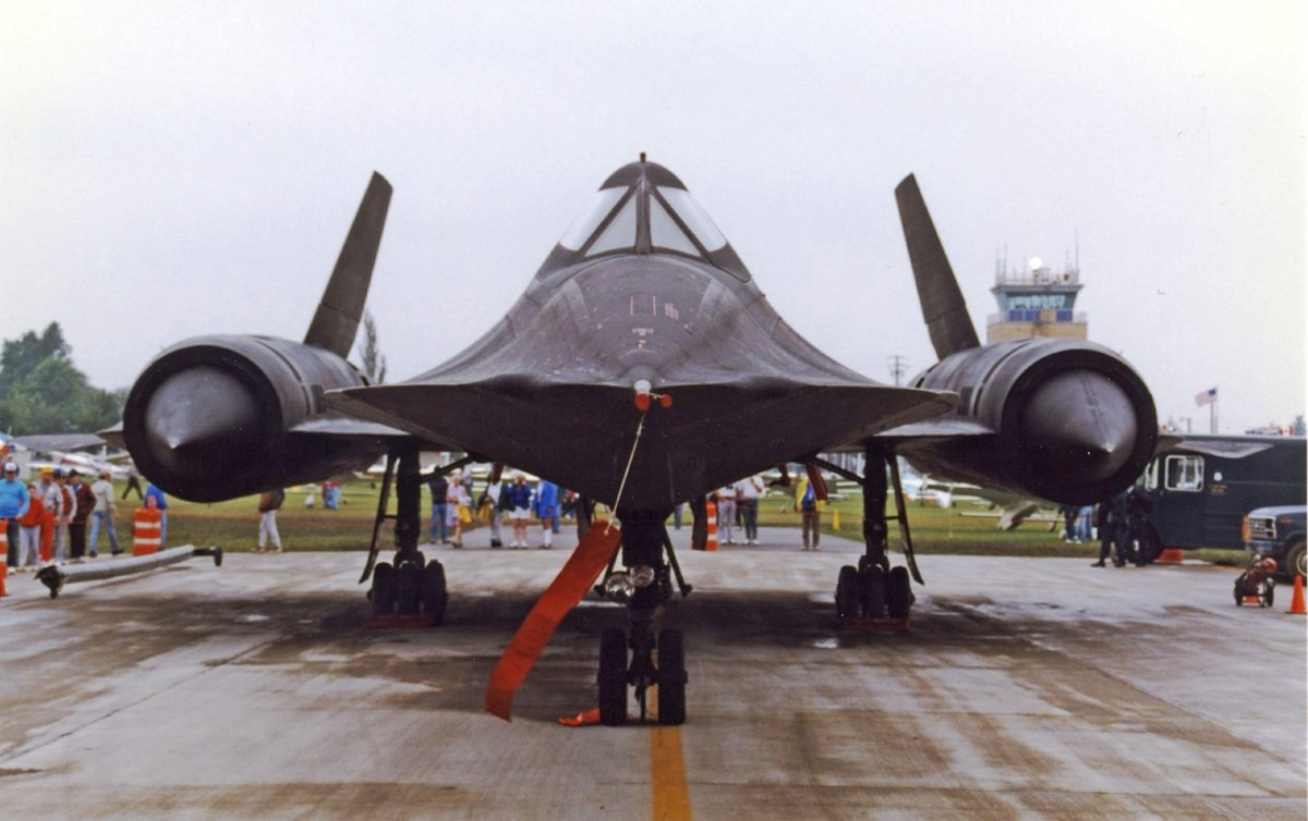 SR-71 Blackbird is the fastest plane to ever fly at over Mach 3.  It was so fast, that it would simply outrun any missile fired at it - EAA's AirVenture in Oshkosh, Wisconsin