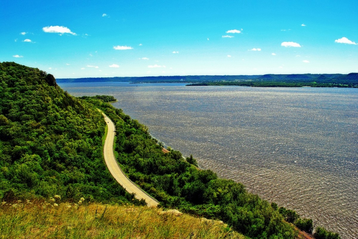 From the Maiden Rock Bluff State Natural area in Lake Pepin, Wisconsin on the Mississippi River