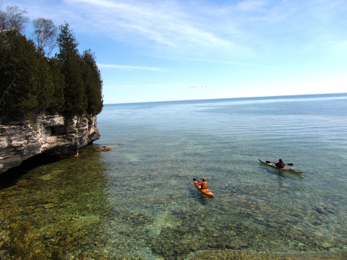Kayaks at Cave Point Park near Whitefish Bay on Lake Michigan in Door County, Wisconsin