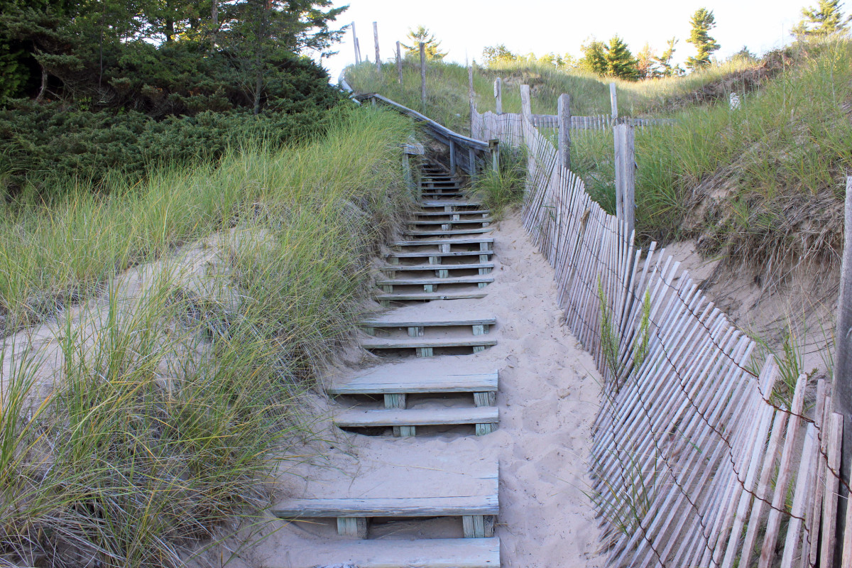 Staircase to the top of the Dune at c