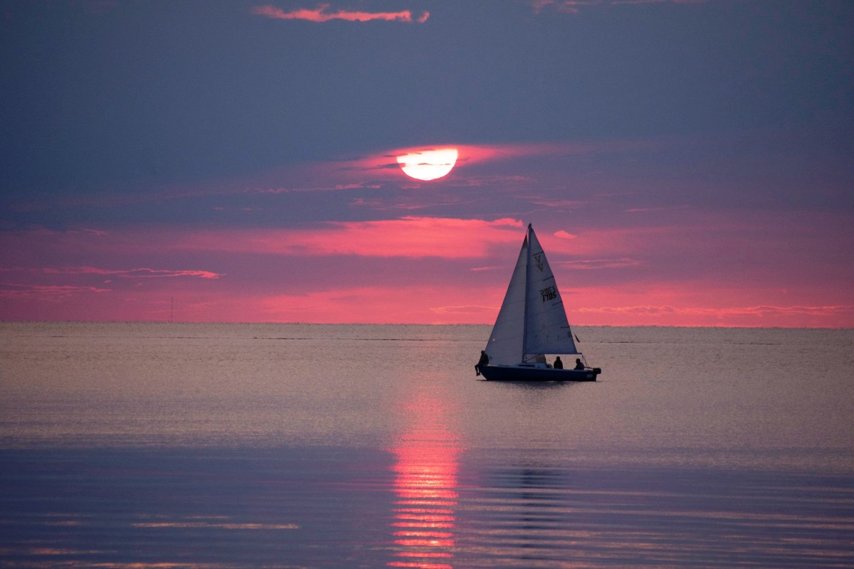 Sailboat at sunset in Sister Bay, Wisconsin - Door County