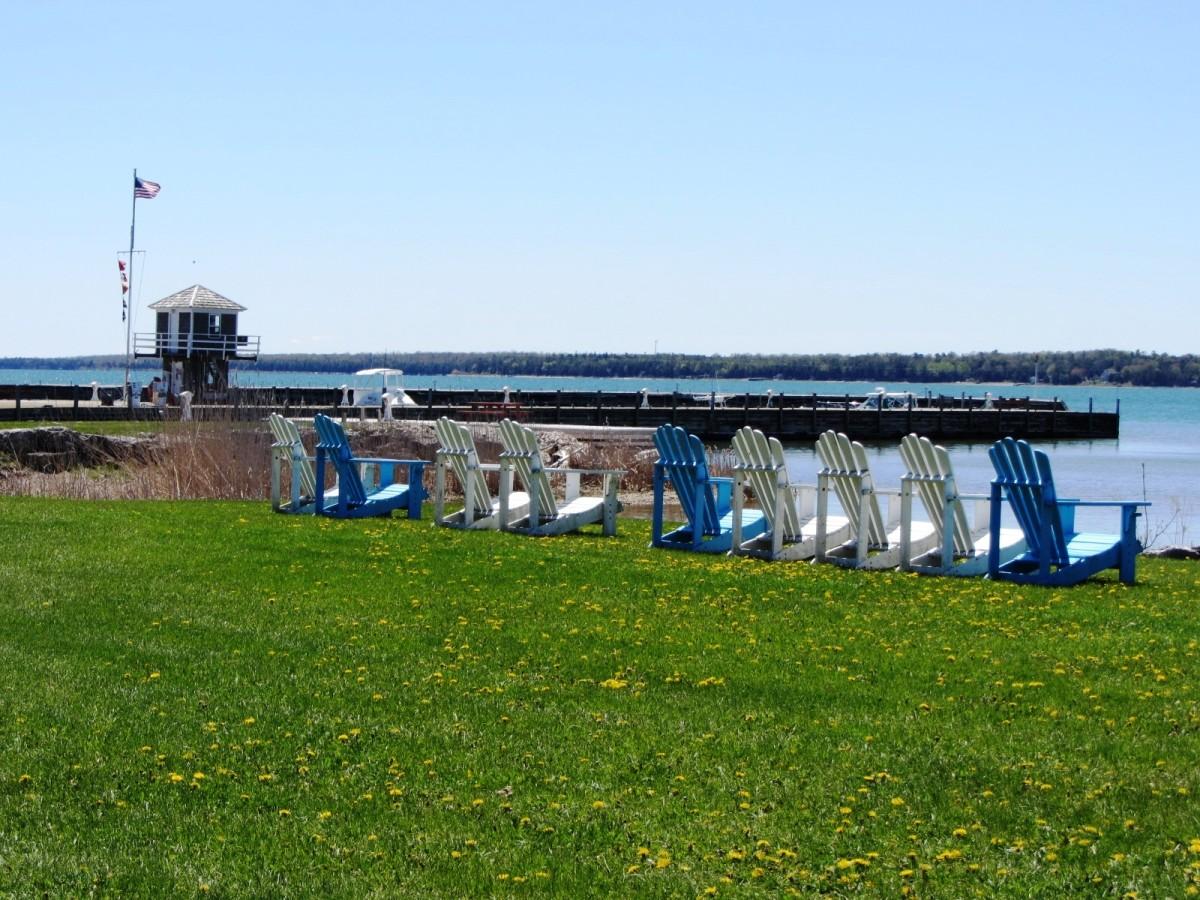 Bailey's Harbor Yacht Club Resort with Lawnchairs in Bailey's Harbor in Door County, Wisconsin