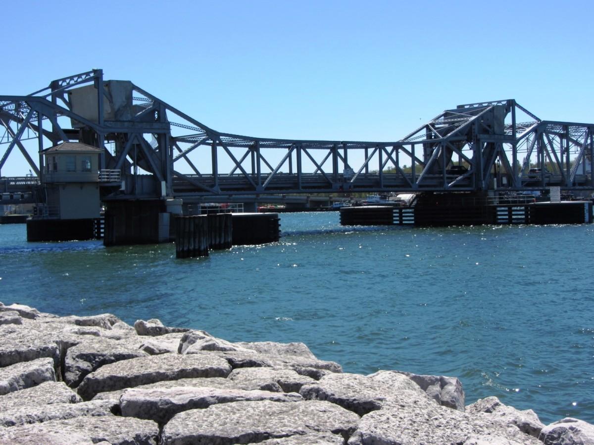 Sturgeon Bay Steel Bridge in Sturgeon Bay, Wisconsin.