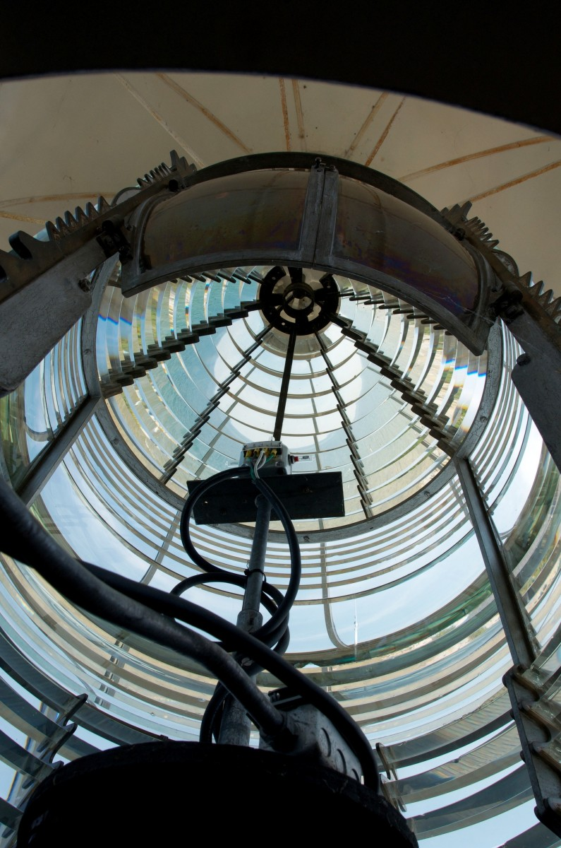 Looking up at the lens of Cana Island Lighthouse in Door County, Wisconsin