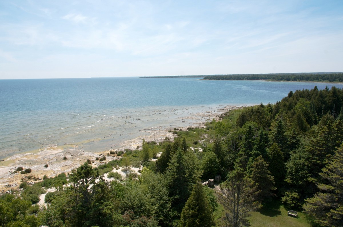 View of Lake Michigan from the top of Cana Island Lighthouse in Door County, Wisconsin