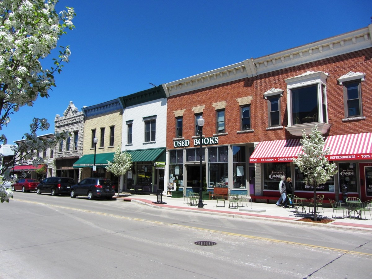 Shops along Third Avenue in Downtown Sturgeon Bay, Wisconsin