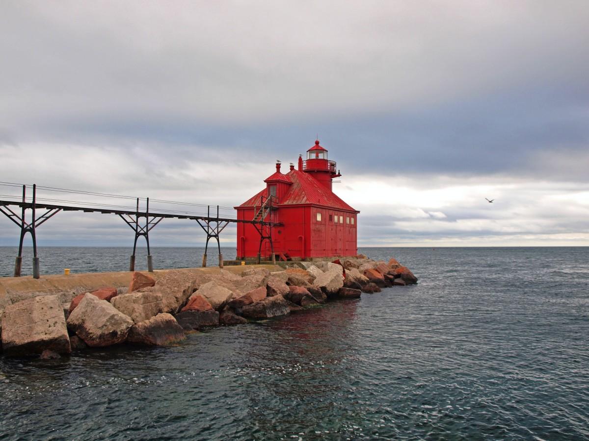 Sturgeon Bay Ship Canal North Pierhead Light in Sturgeon Bay, Wisconsin.